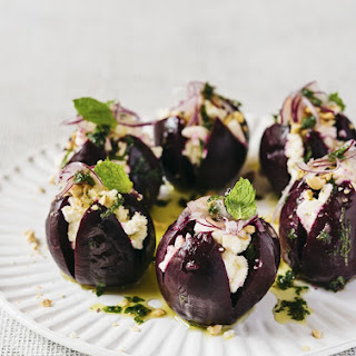 Roasted Beets with White Balsamic Vinaigrette, Ricotta and Hazelnuts