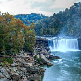 Autumn at Cumberland Falls by Angela Moore - Travel Locations Landmarks ( waterfall, fall, state park, cumberland falls, rocks )