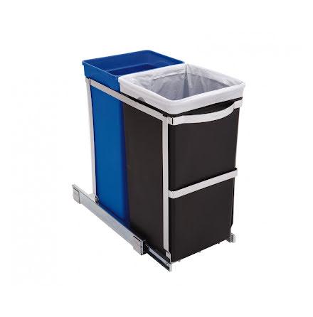 Utdragbara inbyggnadssorterkärl för bänkskåp (20 + 15 liter), Simplehuman