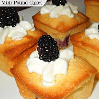 Blackberries And Cream Mini Pound Cakes.