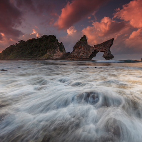 NP by I Komang Windu - Landscapes Waterscapes ( clouds, moment, sunrise, motion, landscape, light, rocks, photography )