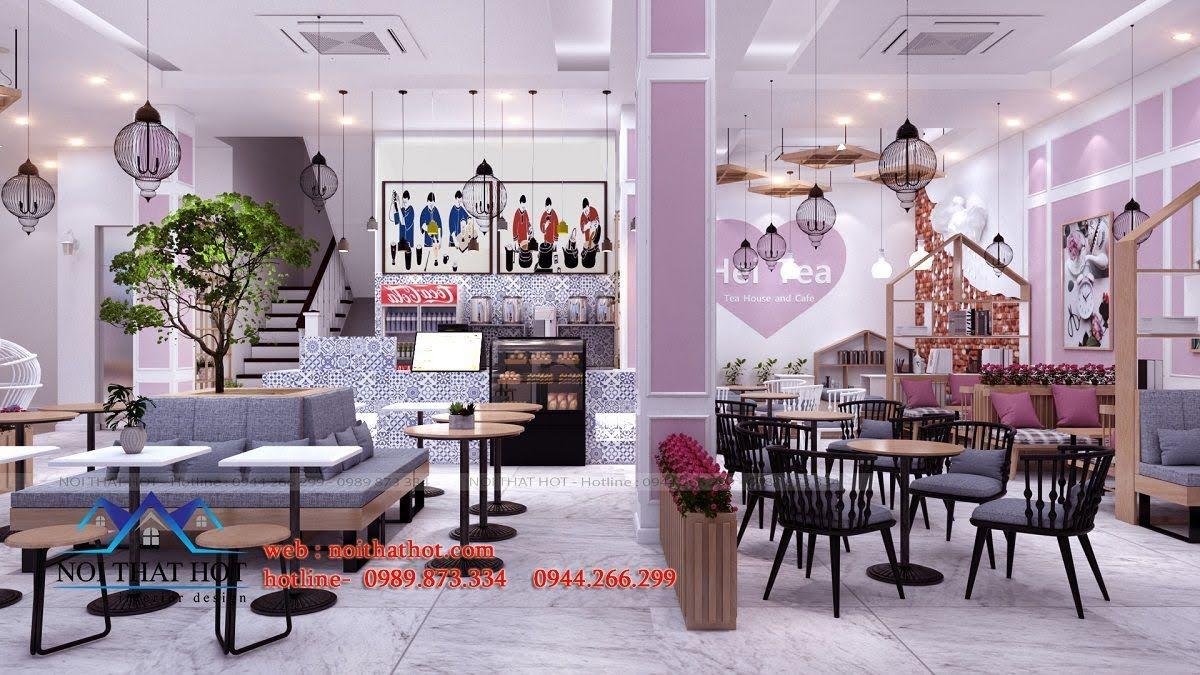 thiết kế quán trà sữa hei tea 4