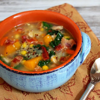 Harvest Vegetable and Chicken Soup with Quinoa and Bacon.