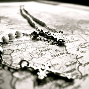 The Way. by Alicia Lockwood - Abstract Macro ( black and white, rosary, map, cross )
