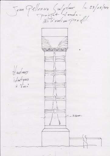 Croquis de profil du projet de tombe personnalisée sculptée en pierre