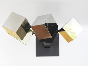 Photo: 24 REFLECTIONS AND A VOID - 58H X 27W X 12D Polished Stainless Steel, Painted Mild Steel, Top View