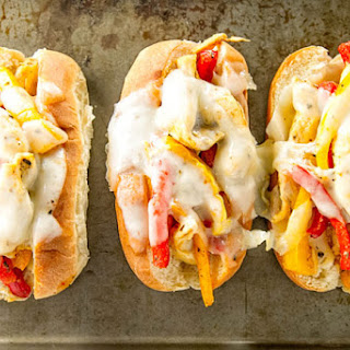 Chicken and Peppers on Soft Rolls
