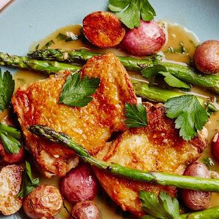 Crispy Chicken Thighs with Spring Vegetables recipe | Epicurious.com.