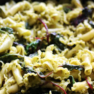 Pesto and Goat Cheese Gigli Pasta with Swiss Chard.