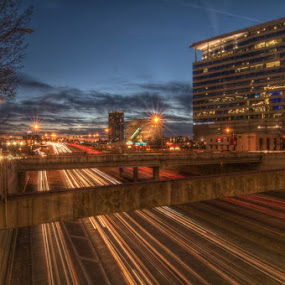 Woodall Rogers Freeway by Michael McMurray - City,  Street & Park  Vistas ( night exposure, hdr, dallas, park at night, texas, nightfall, dusk, city, urban, nighttime in the city, light streaks, night life, street at night, city at night, nightlife, woodall rogers freeway )
