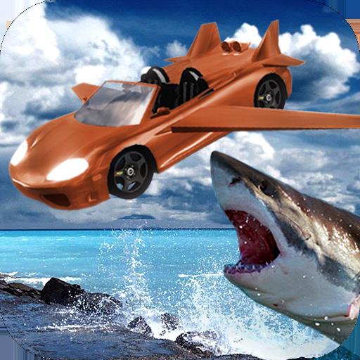 Angry shark flyingCar shooting