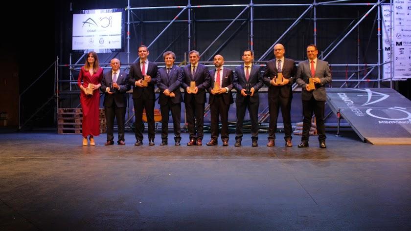 Galardonados en la gala del 50º aniversario de COAAT Almería.