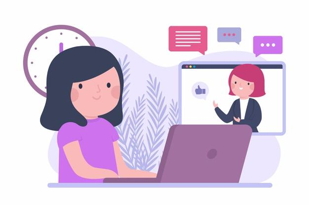 Flat design online course with girl and laptop Free Vector