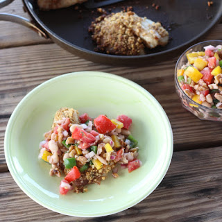 Walnut Crusted Fish with White Bean and Walnut Salsa