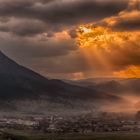 Sunset in Zarnesti by Diana Toma - Landscapes Sunsets & Sunrises ( village, sunset, orange sky, golden hour )