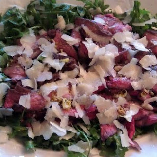 Grilled Steak with Parmesan, Lemon and Arugula