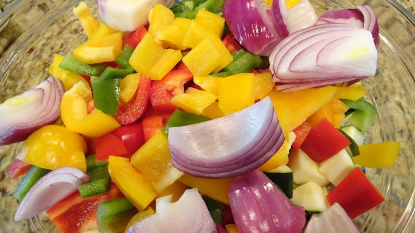 Colorful summer vegetables cut into 1
