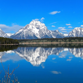 Reflections of the Tetons by Santford Overton - Landscapes Waterscapes ( mountains, nature, snow, trees, reflections, lake, landscape, landscapes,  )
