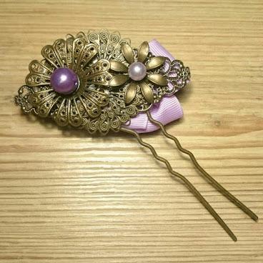紫色布花雙面髮簪