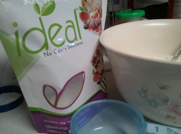 Put two cups of self rising flour and one cup of Ideal brand Sweetener...
