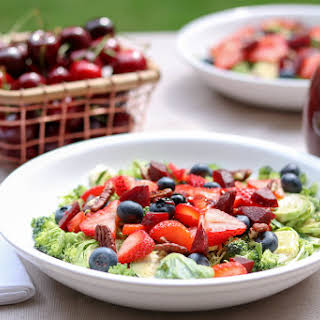 Berry Broccoli Brussels Salad with Cherry Balsamic Vinaigrette.