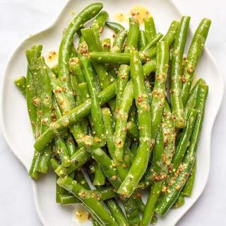 Green Beans With Mustard Butter Sauce.