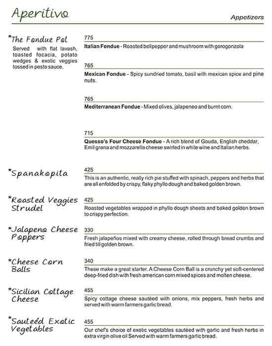 Quesso Ristorante menu 10