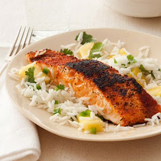 Blackened Salmon with Pineapple Rice