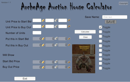 ArcheAge Auction Calculator