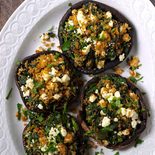 Greek Spinach and Feta Stuffed Mushrooms.