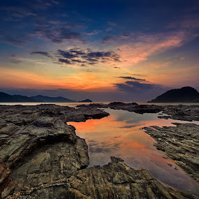 Sunrise @ Wanzai, Huidong, China by Stanley Loong - Landscapes Sunsets & Sunrises ( calm, reflection, blue sky, warmth, sunrise, rocks,  )