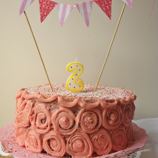 2-Layer Chocolate Cake with Strawberry Filling and White Chocolate Icing.