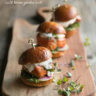 Grilled Salmon Burgers with Garlic Lemon Aioli Recipe