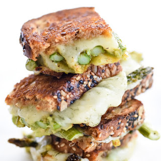 Spicy Smashed Avocado & Asparagus with Dill Havarti Grilled Cheese.