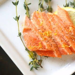 Olive Oil-Thyme Poached Salmon.
