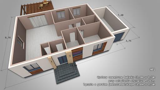 Dom gotowy MP1 - Rzut parteru - dom jednorodzinny, dach kopertowy, garaż jednostanowiskowy