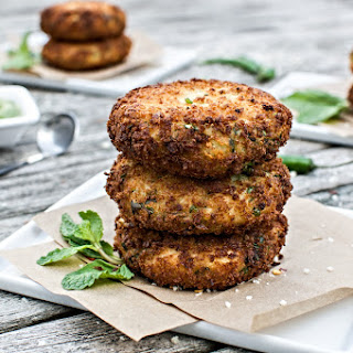 Panko Crusted Potato Cakes w/ Chimichurri Sauce