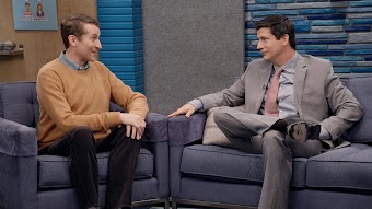 Ken Marino Wears a Slim Gray Suit and Salmon Tie