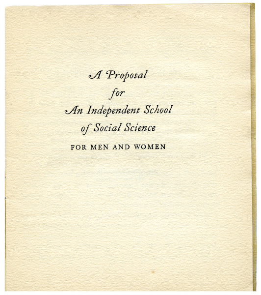 """Photo: page 1 from """"A Proposal for An Independent School of Social Science"""". The New School first opened its doors in 1919."""
