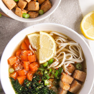 Soba Noodles Tofu Soup with Limes, Carrots and Kale.