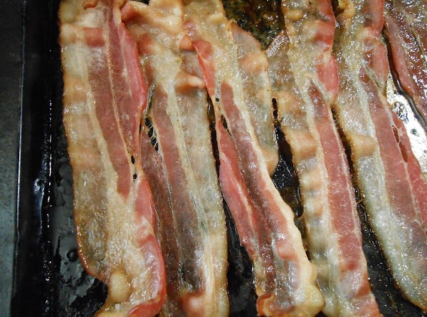 Bake 6 slices of thin bacon for about 12 min in a 375° oven....