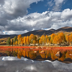 Late Autumn with reflection by Stanley Loong - Landscapes Mountains & Hills ( clouds, reflection, mountain, blue sky, autumn, tibet, scenery, landscape, china,  )