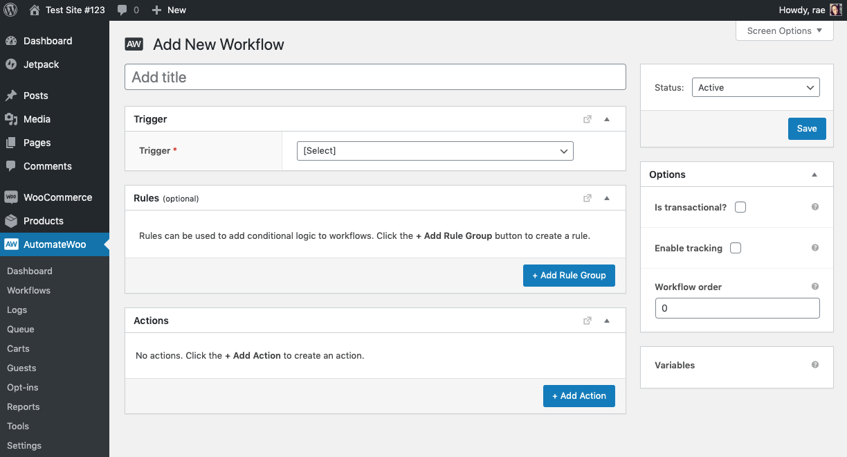 Creating a new workflow in AutomateWoo