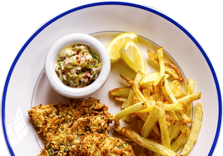 1. Panko-crusted fish fillets with chips
