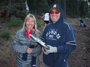 Photo: Nancy Hobbs and timer Doug Cleavenger