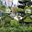 Mickey Mouse and Minnie Mouse Garden, DisneyWorld, Orlando, Florida by Sheri Fresonke Harper - City,  Street & Park  Amusement Parks ( sculpture, mickey mouse, florida, minnie mouse, shrub, orlando, garden,  )