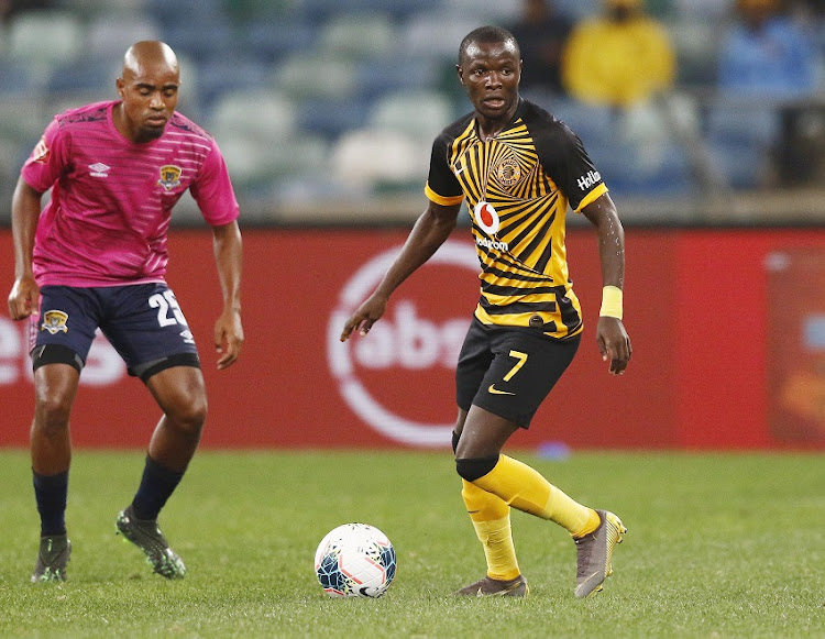 Lazarous Kambole of Kaizer Chiefs and Thabiso Mokoena of Black Leopards during the Absa Premiership match between Kaizer Chiefs and Black Leopards at Moses Mabhida Stadium on August 10, 2019 in Durban, South Africa.