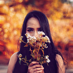Lonely  by Momo Momo - Digital Art People ( model nature flower mood portrait woman )