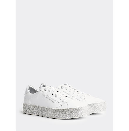 Glitter Foxing Dress Trainers, white/silver