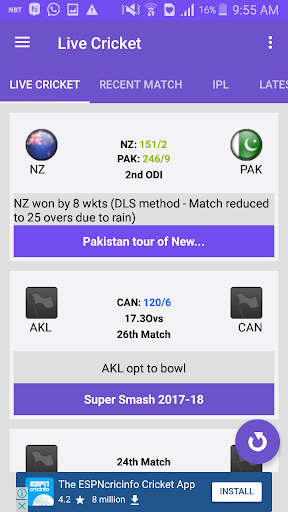CricScore - Live cricket score 1.3 Windows u7528 2